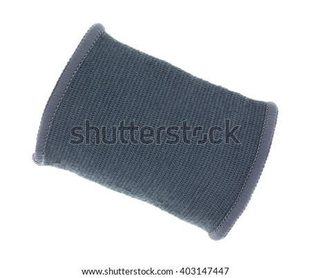 Top view of a gray stretchy wrist support isolated on a white background.