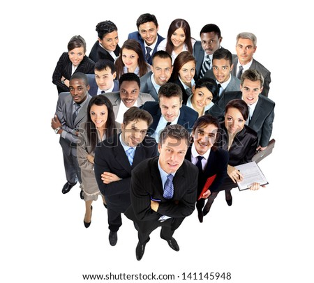 Top view of a group of business people - stock photo