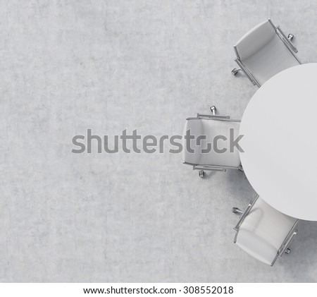 Top view of a half of the conference room. A white round table, three white leather chairs. Office interior. 3D rendering. - stock photo