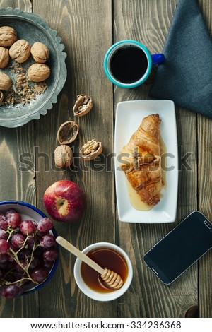top view of a healthy breakfast table  - stock photo