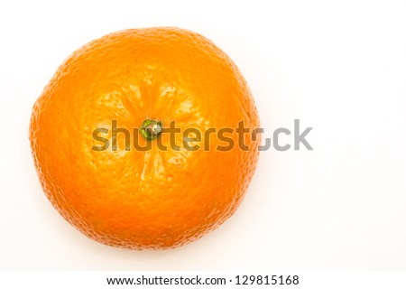 Top view of a isolated tangerine on a white background - stock photo