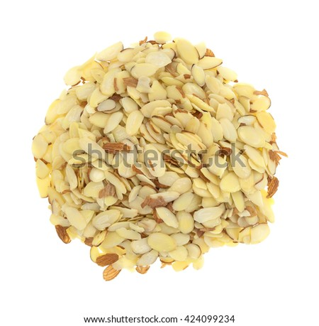 Top view of a large portion of sliced almonds isolated on a white background. - stock photo