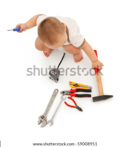 Top view of a little boy with several tools. Isolated on white - stock photo