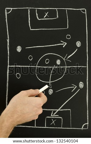 Top view of a man drawing a football game strategy with white chalk on a blackboard. - stock photo