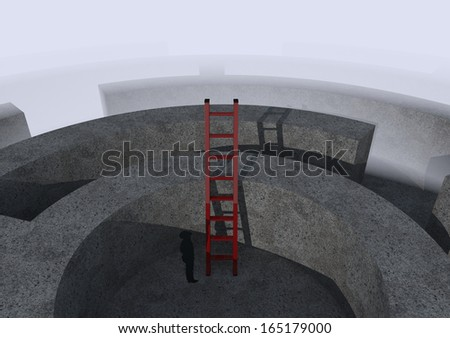 top view of a maze with a stair and an human silhouette, concept of challenge and competition (3d render) - stock photo