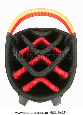 Top view of a multiple pockets golf bag in red white black with quick release shoulder straps isolated on white background  - stock photo