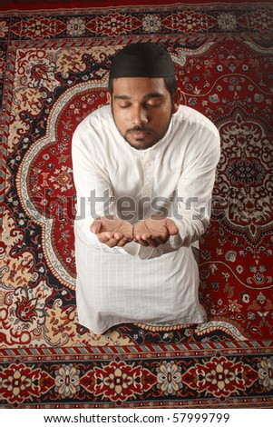 Top view of a Muslim praying process