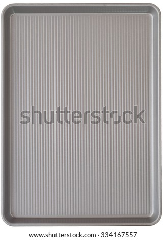 Top view of a New Gray Corrugated Metal Baking Cookie Sheet Pan Isolated on White Background.  Closeup vertical and rectangle shaped