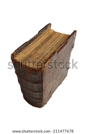 Top view of a old, worn leather book, isolated on white - stock photo