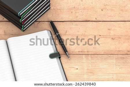 top view of a paper notebook with blank pages, a pen, and a stack of paper notebooks on wooden background, some empty space on the right for custom text  (3d render) - stock photo