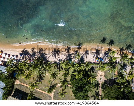 Top View of a Paradise Beach - stock photo