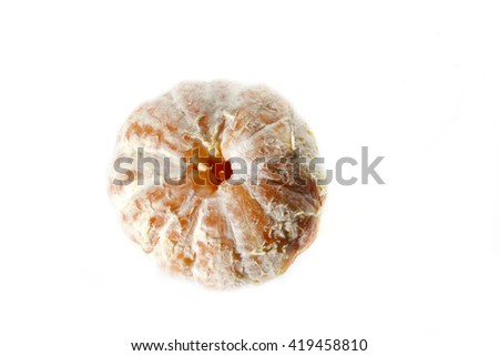 Top view of a peeled tangerine or mandarin fruit isolated on white background  - stock photo