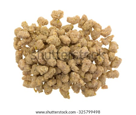 Top view of a portion of crumbled Italian sausage for pizzas isolated on a white background. - stock photo
