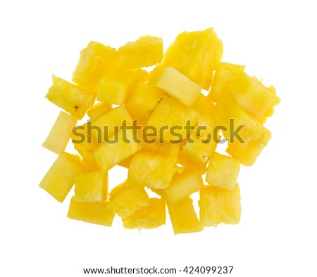 Top view of a portion of freshly cut pineapple isolated on a white background.