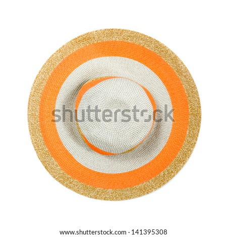 Top view of a round straw hat on a white background. - stock photo