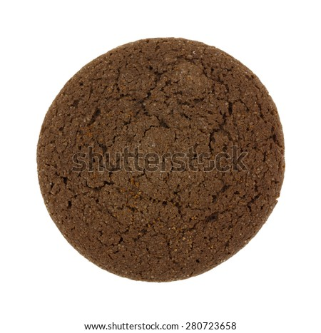 Top view of a single double chocolate cookie isolated on a white background. - stock photo