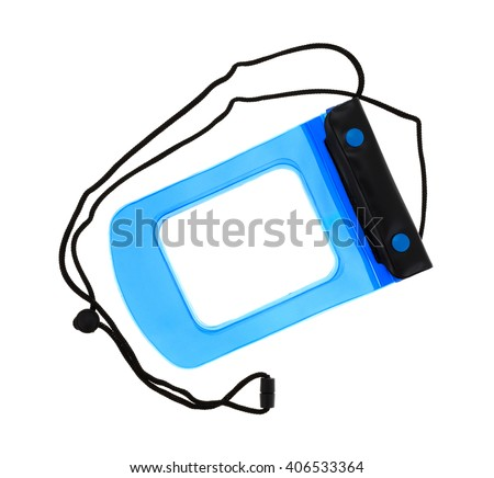 Top view of a small blue and black waterproof pouch for valuables isolated on a white background. - stock photo