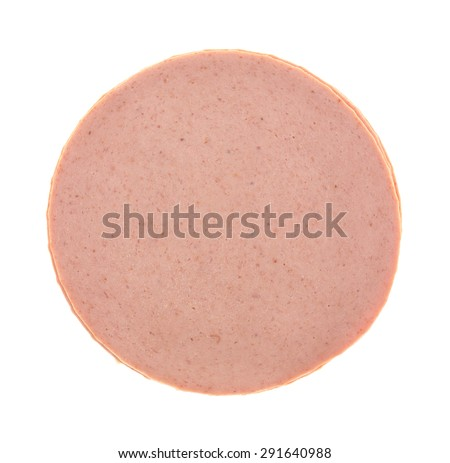 Top view of a small stack of sliced bologna luncheon meat on a white background. - stock photo