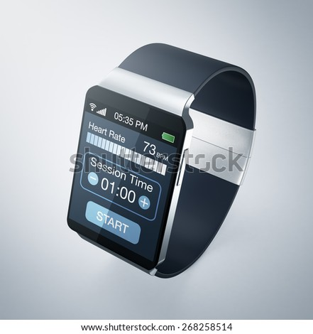 top view of a smartwatch with fitness app (3d render) - stock photo