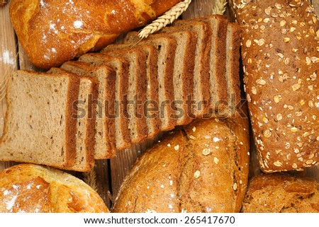top view of a variety of whole wheat bread, full frame - stock photo