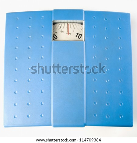 Top view of a weighing scale - stock photo
