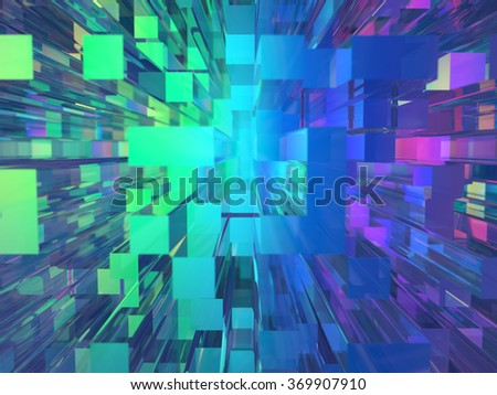 Top view of abstract glass high rise building skyscrapers in modern futuristic downtown - stock photo
