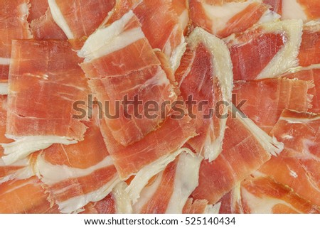 Top view of acorn ham slices, closeup view