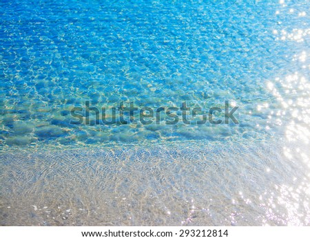 top view of Alghero shoreline with light reflection, Sardinia - stock photo