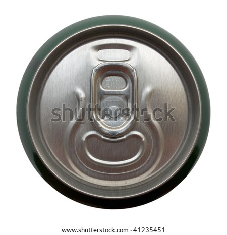 Top view of aluminum can for beverages. Isolation.