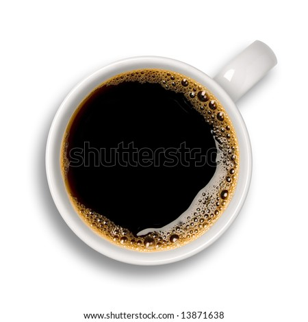 Top view of an isolated cup of coffee with some bubbles.