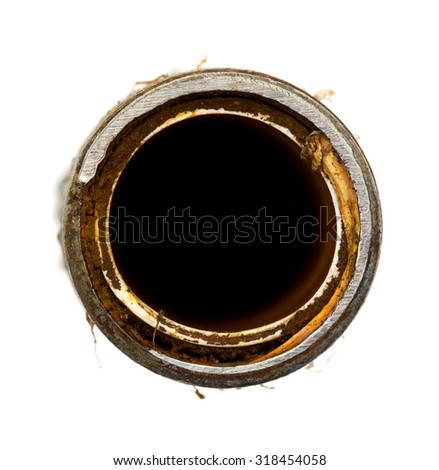 Top view of an old rusty water heater pipe isolated on a white background. - stock photo