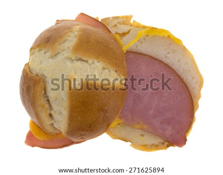 Top view of an open faced tasty small ham and cheese sandwich on a white background. - stock photo