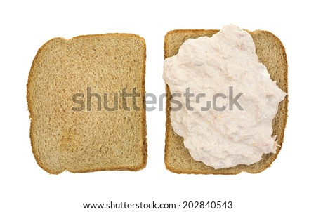 Top view of an open faced tuna sandwich on whole wheat bread atop a white background.