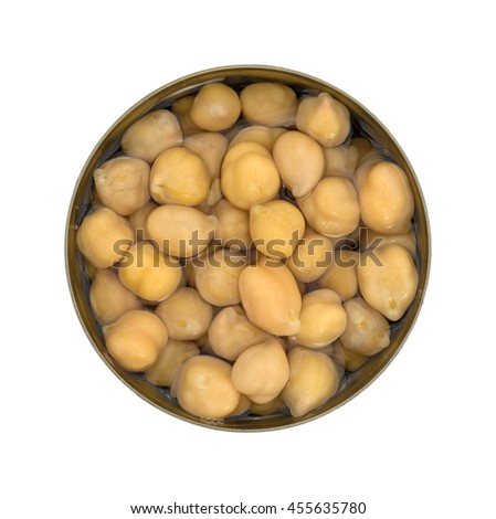 Top view of an opened can of organic garbanzo beans in liquid isolated on a white background. - stock photo