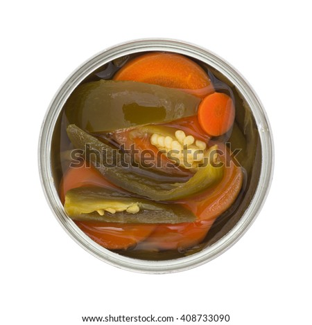 Top view of an opened can of sliced jalapeno peppers with carrots isolated on a white background. - stock photo