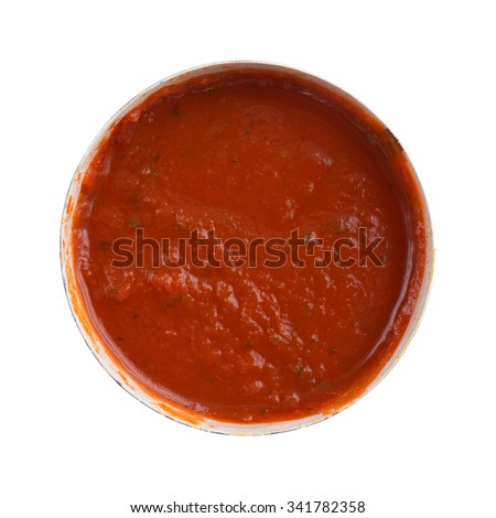 Top view of an opened can of spaghetti sauce isolated on a white background. - stock photo