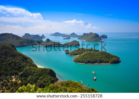 Top view of Ang Thong National Marine Park in Thailand - stock photo