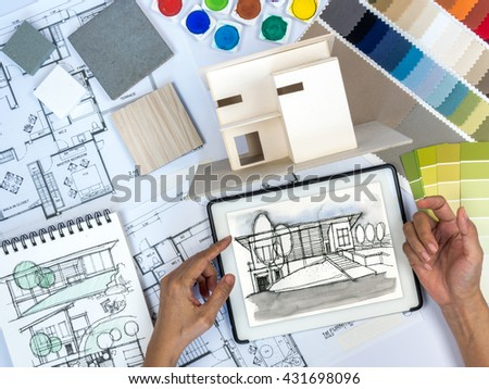 Top view architect interior designer working stock photo edit now 431698096 shutterstock for Best tablet for interior designers