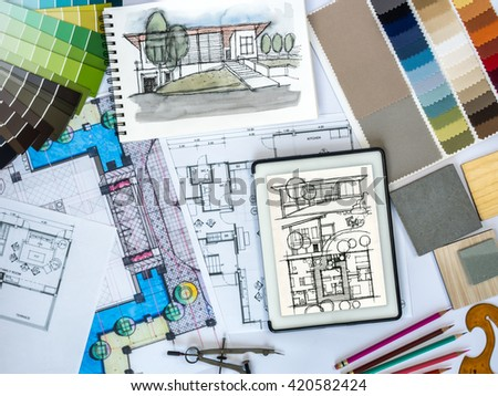 Architectural design house tools furniture catalog stock photo 558654283 shutterstock for Best tablet for interior designers