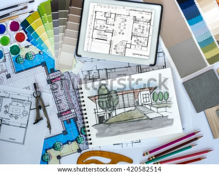 Top view architect interior designer working stock photo 318283571 shutterstock for Best tablet for interior designers