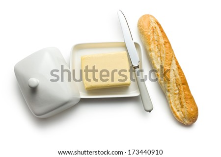top view of baguette with butter - stock photo