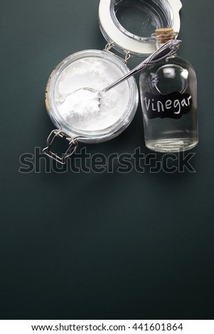 top view of baking soda and vinegar