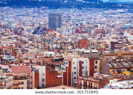 Top view of Barcelona from Park Guell. Spain - stock photo