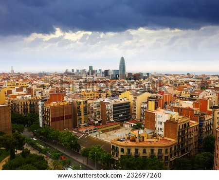 Top view of Barcelona from Sagrada Familia. Spain - stock photo