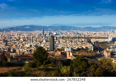 Top view of Barcelona. Spain - stock photo