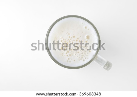 top view of beer glass isolated on white