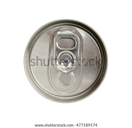 Top view of beverage can with silver ring pull isolated on white background