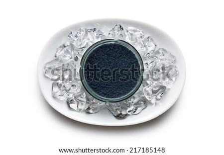 top view of black caviar in jar