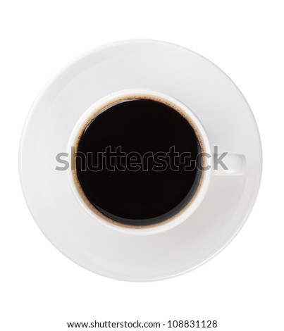 Top view of black coffee cup isolated on white - stock photo