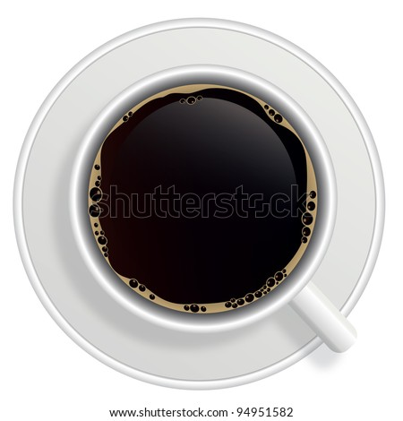 Top view of black coffee cup isolated on white background. Photo-realistic. Raster version.. - stock photo
